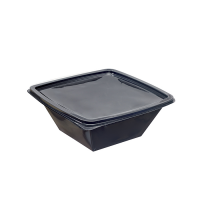 Saladeschaal PET zwart vierkant 1 000ml 195x195mm H70mm