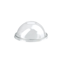 Clear PET plastic dome lid with straw slot 0ml 77mm  H37mm