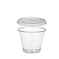 Transparante PET-plastic pot / beker met koepeldeksel en gat 270ml Ø95mm  H88mm