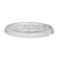 Clear PET plastic flat lid with straw slot 230ml 80mm  H8mm