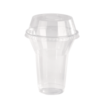 Transparante PET-plastic pot / beker met koepeldeksel en gat 360ml Ø95mm  H107mm