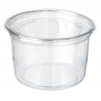 Deli pot rond plastic PET transparant met deksel 350ml Ø117mm  H60mm