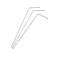 Soepele plastic PP rietje wit  Ø5mm  H230mm