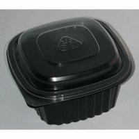 Zwarte vierkante plastic ovenschaal 500ml 137x137mm H60mm