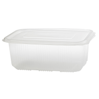 Clear rectangular PP plastic microweavable box with hinged lid 1000ml 169x119mm H58mm