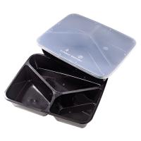 Rechthoekig doosje zwart plastic PP met drie compartimenten met transparant deksel 1200ml 229x182mm H48mm