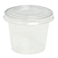 Plastic PET pot met koepel deskel met gat 200ml Ø74mm  H85mm