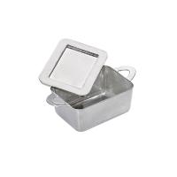 """Zilveren mini plastic PS pot met """"Loukia"""" deksel  95x53mm H35mm"""