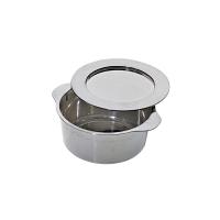 Zilveren mini PS plastic ketel met deksel 90ml 70mm  H34mm