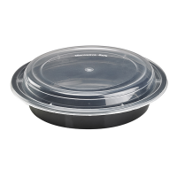 Plastic schaal rond zwart met transparant deksel 720ml Ø185mm  H53mm