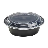 Plastic schaal rond zwart met transparant deksel 1000ml Ø185mm  H55mm