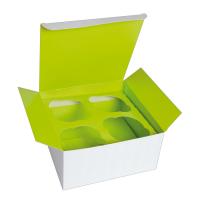 Kartonnen cup cake doos met groene insert (voor 4 stukjes).  170x170mm H85mm