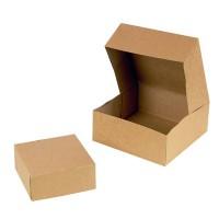 Kartonnen gebaksdoos bruin kraftpapier  140x140mm H60mm