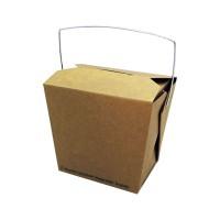Biologisch afbreekbare vierkante kraft kartonnen doos met handvat 450ml 95x73mm H90mm