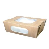 Salade bakje van bruin kraft karton met dubbel venster 400ml   H50mm
