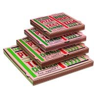"Pizzadoos van karton brun ""Une bonne pizza""  260x260mm H35mm"
