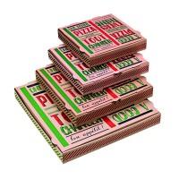 "Pizzadoos van karton brun ""Une bonne pizza""  400x400mm H35mm"