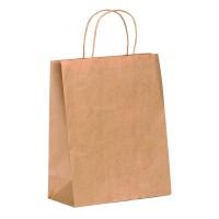 Kraft papieren tas bruin met een handvat van touw  220x100mm H290mm