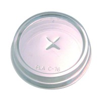 Clear PLA flat lid with straw slot 60ml 96mm