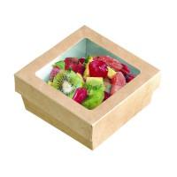 """""""Kray"""" vierkante doos van bruin karton met deksel en venster met PLA 500ml 135x135mm H50mm"""
