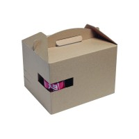 """Kraft """"LunchNGo"""" box with cup holder  300x200mm H175mm"""