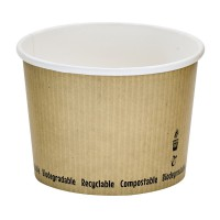 Kartonnen soepbakje wit biologisch afbreekbaar 450ml Ø114mm  H80mm