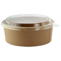 """Saladeschaal """"Buckaty"""" van kraft karton met plastic PET deksel 1300ml Ø185mm  H65mm"""