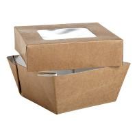 """""""Kray"""" vierkante doos van bruin karton met deksel en venster 200ml 85x85mm H40mm"""