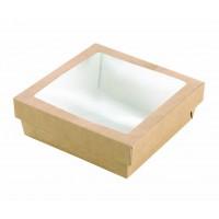 """""""Kray"""" vierkante doos van bruin karton met deksel en venster 450ml 90mm  H50mm"""