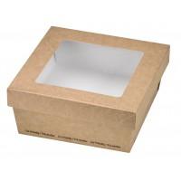 """""""Kray"""" vierkante doos van bruin karton met deksel en venster 500ml 135x135mm H50mm"""