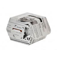 Burger doosje van karton met kranten bedrukking  75x75mm H50mm