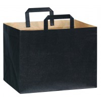 Kraft papieren tas bruin met zwarte opdruk 0ml   H240mm