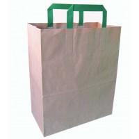 Papieren zak wit met groen gerecyclede handvaten  260x170mm H280mm