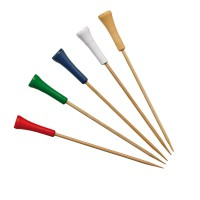 Bamboo skewer assorted colours golf tee design 0ml   H120mm