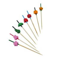 Bamboo skewer with assorted coloured shapes 350ml 135mm  H90mm