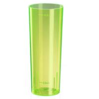 Glazen buis kunststof PS fluorescerend geel herbruikbaar 300ml Ø59mm  H152mm