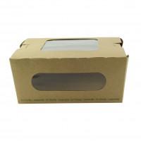 Kraft salad box with double PLA window 1100ml 152x135mm H65mm