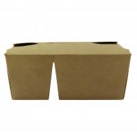 2-compartiment kraftkartonnen maaltijddoos 16,8 x 13,5 x 6,5 cm - Per 200
